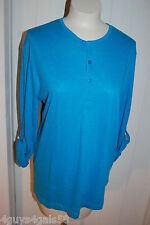 Womens L/S Shirt DARK TURQUOISE HENLEY TUNIC Roll Up Sleeve Button Strap L 12-14
