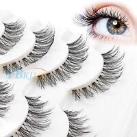 5Pairs Handmade Natural Thick Long Cross False Fake Eyelashes Lashes Makeup OU