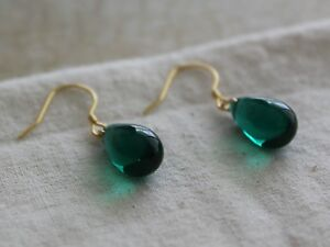 Emerald green Teardrop earrings with gold plated over silver hooks Gift for her