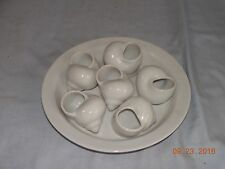 Set of 6 Vintage Ceramic Escargot Snail Baking Shells w/ Serving Plate