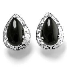 14k Solid White Gold Black Onyx Greek Key Earrings #E919