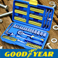 Goodyear 130pc Socket Set + Screwdriver Bits Including 72-teeth Ratchet Handle