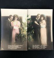 VTG RPPC Postcard GERMAN Polish Wedding Colored Real Picture Photo Announcement