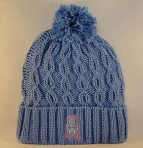 Houston Oilers NFL Reebok Throwback Cuffed Knit Pom Hat Blue