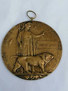 WW1 DEATH PLAQUE, PATRICK SMITH, IRISH, BRITISH ARMY