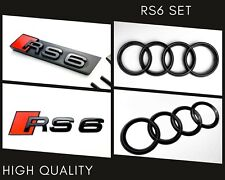 Audi RS6 Gloss Black Set of Front Rings Badge Grille Boot Lid Trunk Emblem