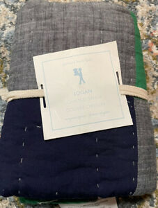 NEW Pottery Barn Kids Logan Euro Quilted Pillow Sham Color Block Green Blue PBK