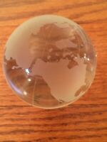 "3"" Glass Paperweight Round Globe Map"