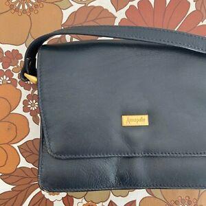 Vintage Navy Blue ANNAPELLE Genuine LEATHER Little Bag Handbag