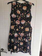 BEAUTIFUL PINK ORANGE FLOWER DRESS 12 WORN ONCE PARTY / XMAS / FESTIVE / TENKI