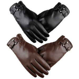 Winter Leather Gloves Full Finger Motorcycle Driving Warm Touch ScreenB -lk