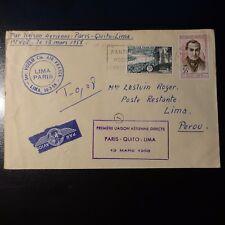 AVIATION LETTRE COVER PREMIER VOL PARIS QUITO LIMA PEROU 1958