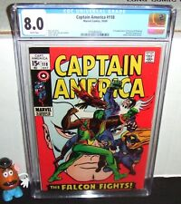 CAPTAIN AMERICA #118 MARVEL 1969 2ND APPEAR FALCON & REDWING + RED SKULL CGC 8.0