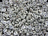 500 Pcs - 7mm Silver Acrylic Coloured Alphabet Round Letter Beads Jewellery M136