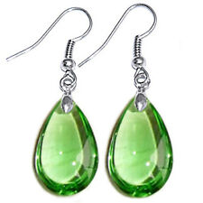 Teardrop Smooth Crystal Glass Bead Pendant Dangle Earrings Ear Hooks Earwires