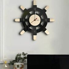 Wall Clock Nautical Wooden Silent Watch Acrylic Steering Wheel Home Decor Timer