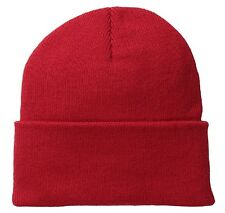 Solid Red Watch Stocking Cap Beanie Winter Stocking Hat Knit Cold Weather