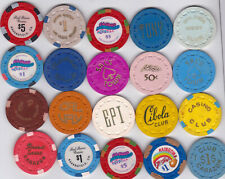 20 Small Crown Californa Casino Chips From Various Locatio