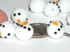 6pc Glass Christmas Snowman Lampwork Bead Mix charm snowmen Holiday charm 3/8