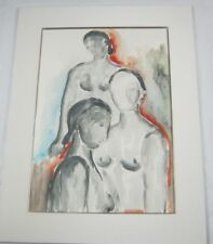 Vintage Original Watercolor Study of Three Nudes by Guy Salomon Listed