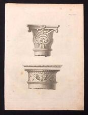 Antico 1800 Print costruttori MAGAZINE 2 disegni per capitali IONIC & DORICO XLVI