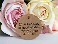 20 x Kraft brown  Wedding Bubbles Gift Swing Tags! typewriter font 4 Bomboniere!