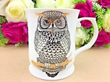 415ml Fine Bone China Silhouette Owl Mug Coffee Cup Tea Mug Christmas Gold Boxed