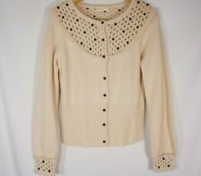 Sleeping on Snow Anthro Sweater cardigan Beaded Cream Wool cashmere Woemsn M