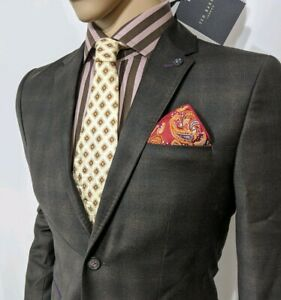 BNWT Ted Baker Mens Slim Sport Coat Prince Wales Check Blazer Sz 2 36R RRP £299