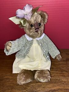 "Bearington Collection Ally Bear 10"" Green Sweater Yellow Dress Marietta"