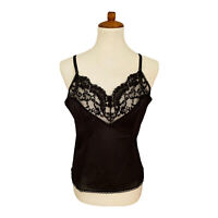 Vintage Vassarette Silky  Nylon Black Camisole Slip On CAMI Top Lace xl 40