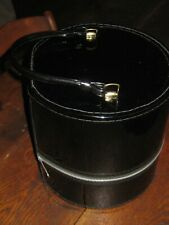 1960's Black Patent Leather like Wig Carrier Case Hat Box With Styrofoam Head Fo