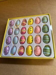 Gisela Graham Set Of 24 Mini Wooden Easter Eggs Easter Hanging Decorations - 51