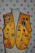 Vintage LIONS CLUB MENS X large gold SECURITY VEST 31 patches 1 patch USA made!