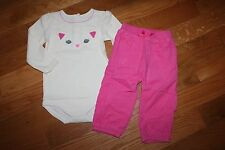 Nwt Gymboree Fun Flurries 18-24 Months Kitty Shirt Pink Corduroy Pants Set