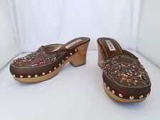 "Steve Madden Brown Satin & Wooden Mule Clog Size 7.5 3"" Heel ""FIREY"""