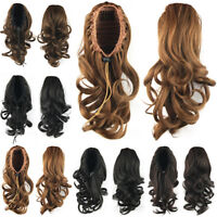 Women's Curly Wavy Blonde Hairpiece Braid Ponytail Wigs Clip In Hair Extensions