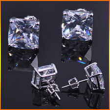 14K W Gold 1.25 ctw Simulated Lab Diamond Screw Back Square Stud Earrings 6mm