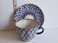 USSR Cobalt Blue Demitasse Cup and Saucer Vintage