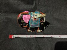 Rare Vtg hand crafted mini elephant statue figure India Pink Black Fancy Art wOw