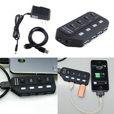 4 Port USB 3.0 Hub On/Off Switches + AC Power Adapter Cable for PC Laptop Black