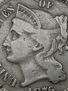 1876 Three 3 Cent Nickel- Rare Key Date- Fine/VF Details