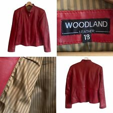 🌟Woodland Leather Red Real Leather Biker Bomber Zip Up Jacket Pockets Womens