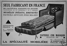 PUBLICITÉ 1930 LA SPÉCIALITÉ MOBILIÈRE SEUL FABRICANT FAUTEUILS CUIR MAROQUIN