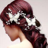 Haarschmuck Haarspange Braut Hochzeit Diademe Jewerly Perle Schmetterling Strass