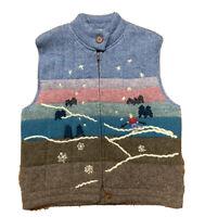 VTG 80's LL Bean Women's L Hand Knit Wool Sweater Vest Downhill Ski Colorblock