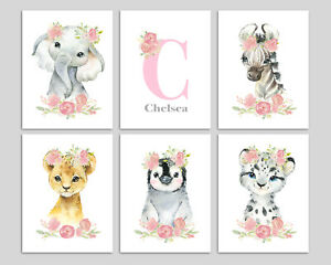 Personalised Safari Animals Nursery Prints Girls Room Baby Wall Art Pictures