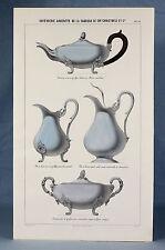 c1890, CHRISTOFLE paris, ORIGINAL art nouveau h/col litho pot à lait SILVERWARE