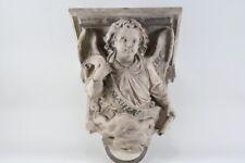 i99g02- Holz Konsole, geschnitzt, Engel mit Banner St. Maria, 19.Jh.