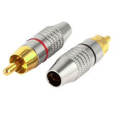 2pcs RCA Male Plug Adapter Audio Phono Gold Plated Solder Connector Gold+Silver